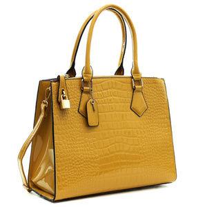 NWT - Mustard Faux Leather Croco Handbag Satchel